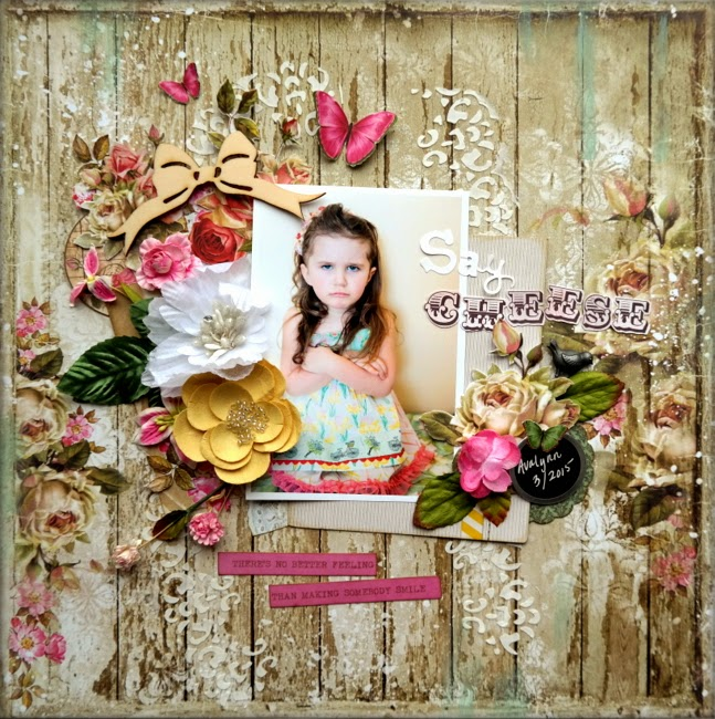 Shabby Chic Mixed Media Scrapbook Layout with Stencilling and Pink and Yellow Flowers