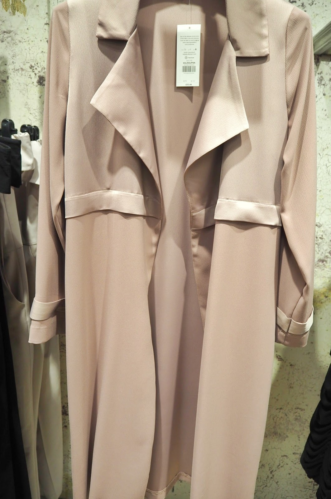 Miss Selfridge Blush Matt and Shine Duster Coat