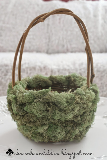 reindeer moss-covered grapevine Easter basket