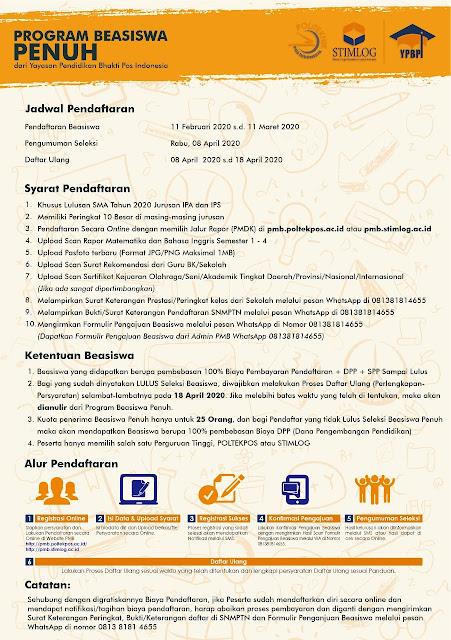 Beasiswa 2020 Politeknik Pos Indonesia