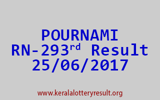 POURNAMI Lottery RN 293 Results 25-6-2017