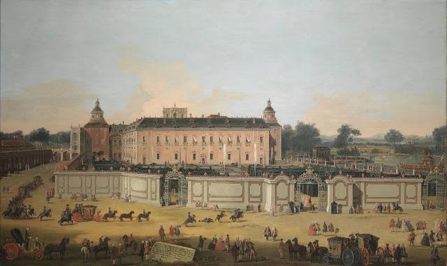 Francesco Battaglioli - La real comitiva ante el Palacio Real de Aranjuez el día de San Fernando - 1756