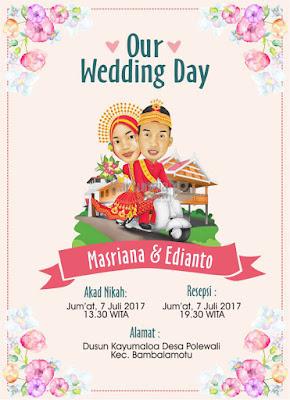 Undangan Karikatur Pernikahan Adat Bugis