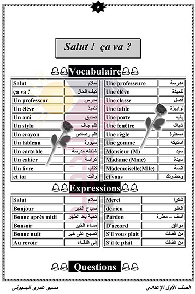 مذكرة اللغة الفرنسية للصف الأول الاعدادى الترم الاول