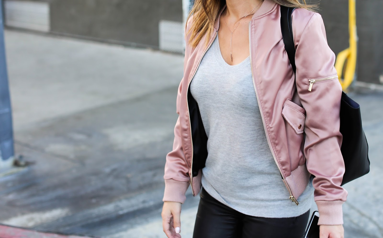 Marianna Hewitt Street Style - House of CB Pink Satin Bomber Jacket