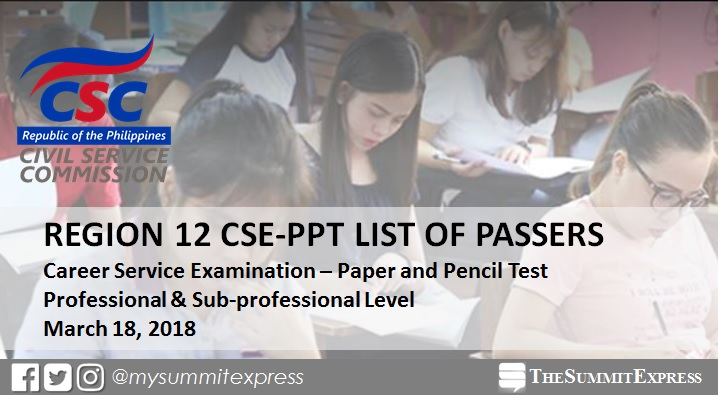 CSC finally released March 2018 Civil Service exam results (Region 12)