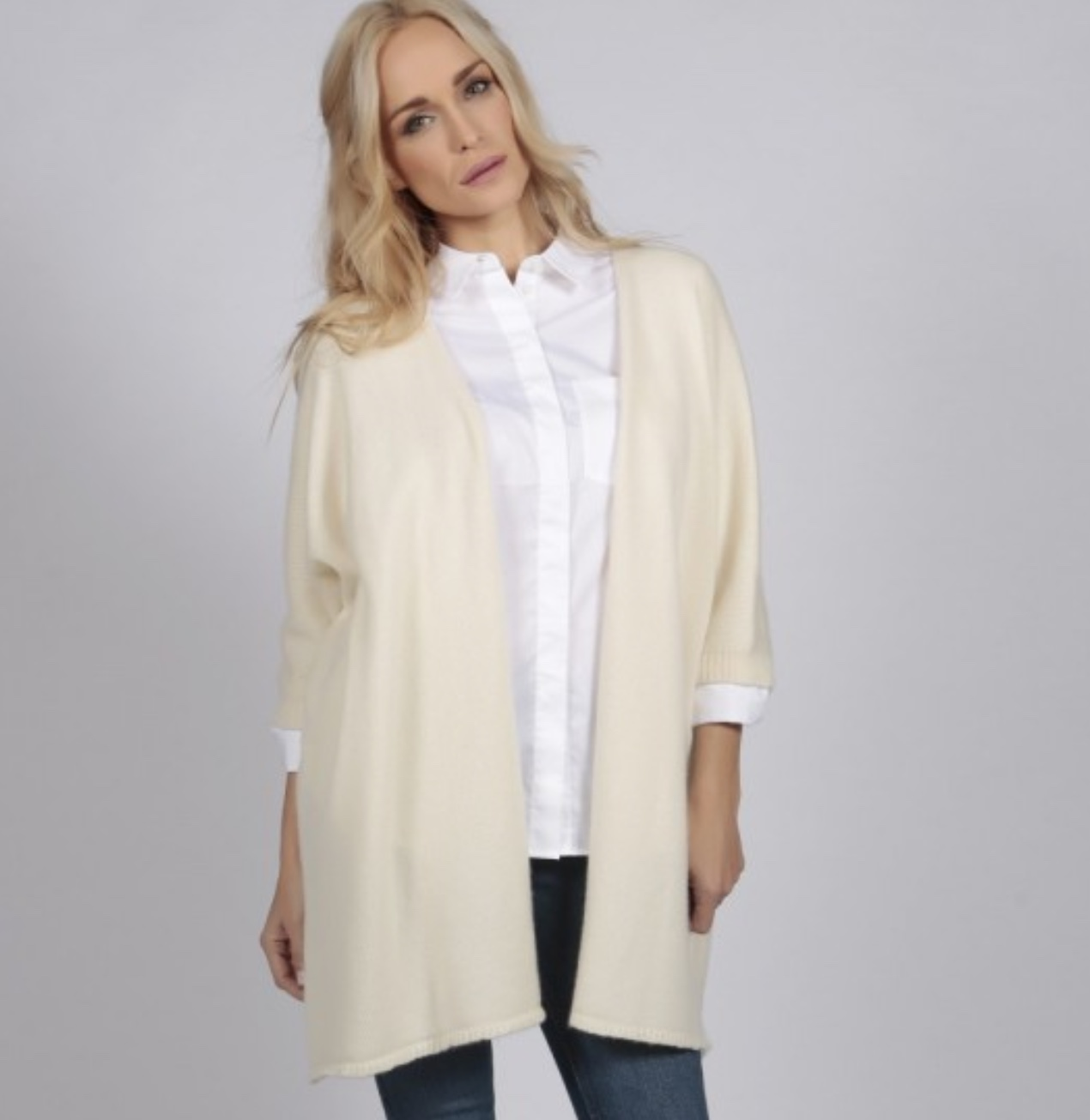 italy in cashmere cream white pure cashmere duster cardigan