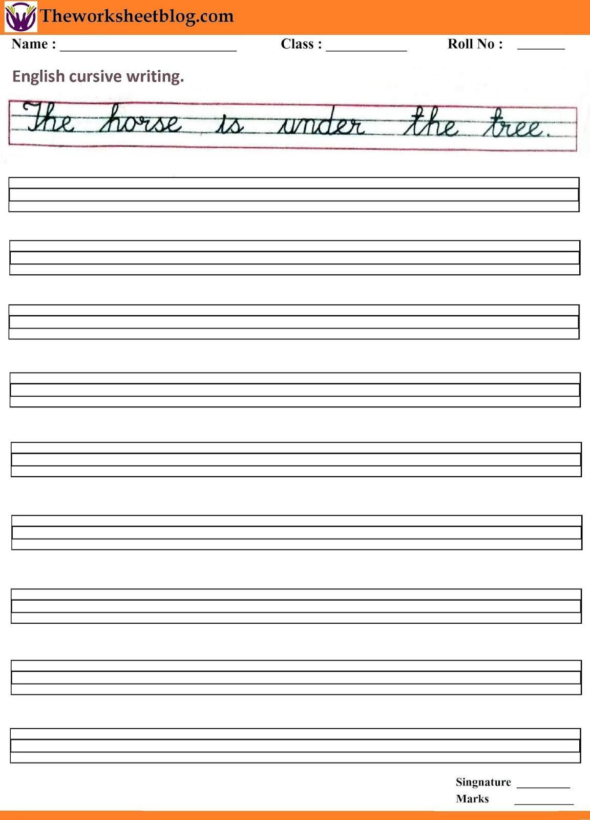 English Cursive Handwriting Worksheet