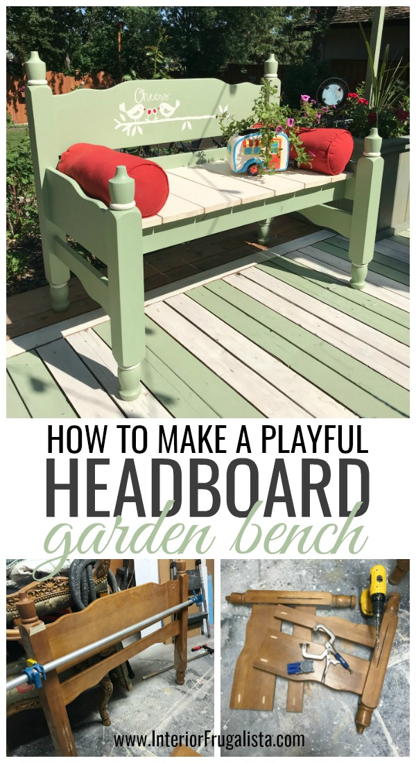 How to turn an old headboard set into a relaxing outdoor garden bench for two. A budget-friendly outdoor furniture idea for a deck, patio, or porch. #headboardbench #diyoutdoorfurniture #diyoutdoorbench