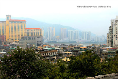 A beautiful cityscape view of Macau region and the casino from the top of Monte Fortress. A heritage site of Macau, China