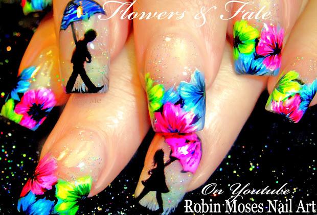 nail art robin moses neon flower