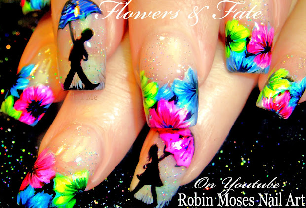 "Robin Moses Nail Art Neon Flower Nails With Romantic Umbrellas ""easter Art"""