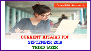 Current Affairs PDF September 2016