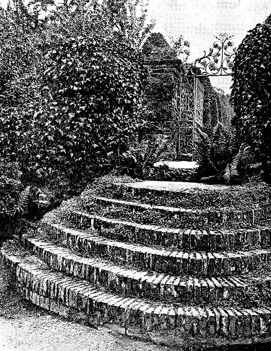 a photograph of 1920 brick stairs in a gfarden