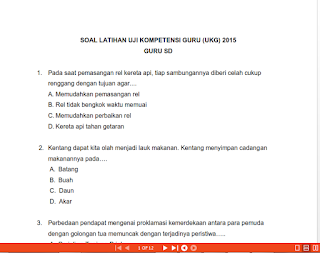 Latihan Soal UKG 2015 Sekolah Dasar ( SD )