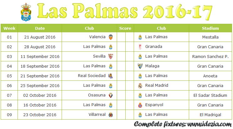 Download Jadwal UD Las Palmas 2016-2017 File JPG - Download Kalender Lengkap Pertandingan UD Las Palmas 2016-2017 File JPG - Download UD Las Palmas Schedule Full Fixture File JPG - Schedule with Score Coloumn