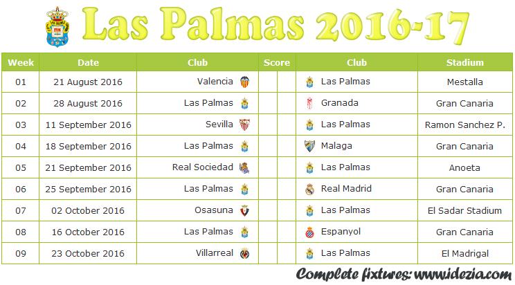 Download Jadwal UD Las Palmas 2016-2017 File JPG - Download Kalender Lengkap Pertandingan UD Las Palmas 2016-2017 File JPG - Download UD Las Palmas Schedule Full Fixture File JPG - Schedule with Score Coloumn