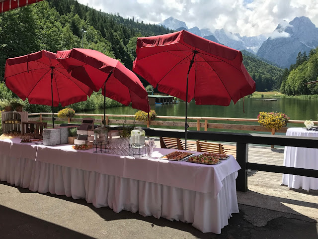 Buffet on the lake terrace, Wedding abroad, Mountain wedding lake-side at the Riessersee Hotel Resort Bavaria, Germany, Garmisch-Partenkirchen