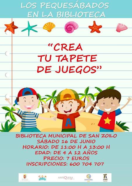"""Taller """"Crea tu tapete de juegos"""" en la Biblioteca de Antequera"""
