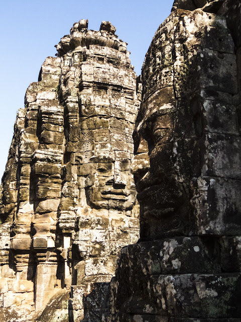 Faces at Bayon Temple in Angkor Cambodia