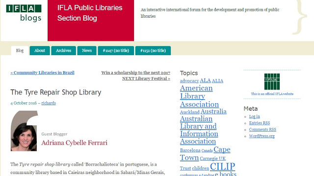 A IFLA ( International Federation of Library Associations and Institutions) - é o principal organismo internacional que representa os interesses de biblioteca e serviços de informação e seus usuários. É a voz global da biblioteca e dos profissionais da informação.  E não é que eles publicaram uma matéria acerca da Borrachalioteca de Sabará (integrante Rede de Leitura