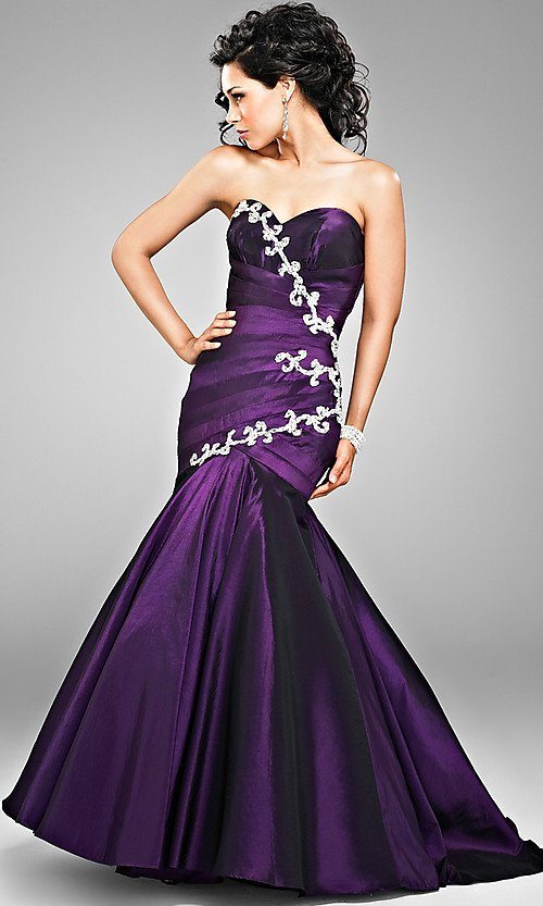 Excellent Purple Wedding Dress Strapless Elegant Style