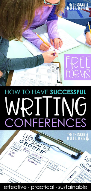 Learn all the ins and outs of creating a system of one-to-one writing conferences with you students, a system that not only helps each writer grow, but is also practical enough to sustain throughout the year. (Blog post from The Thinker Builder)