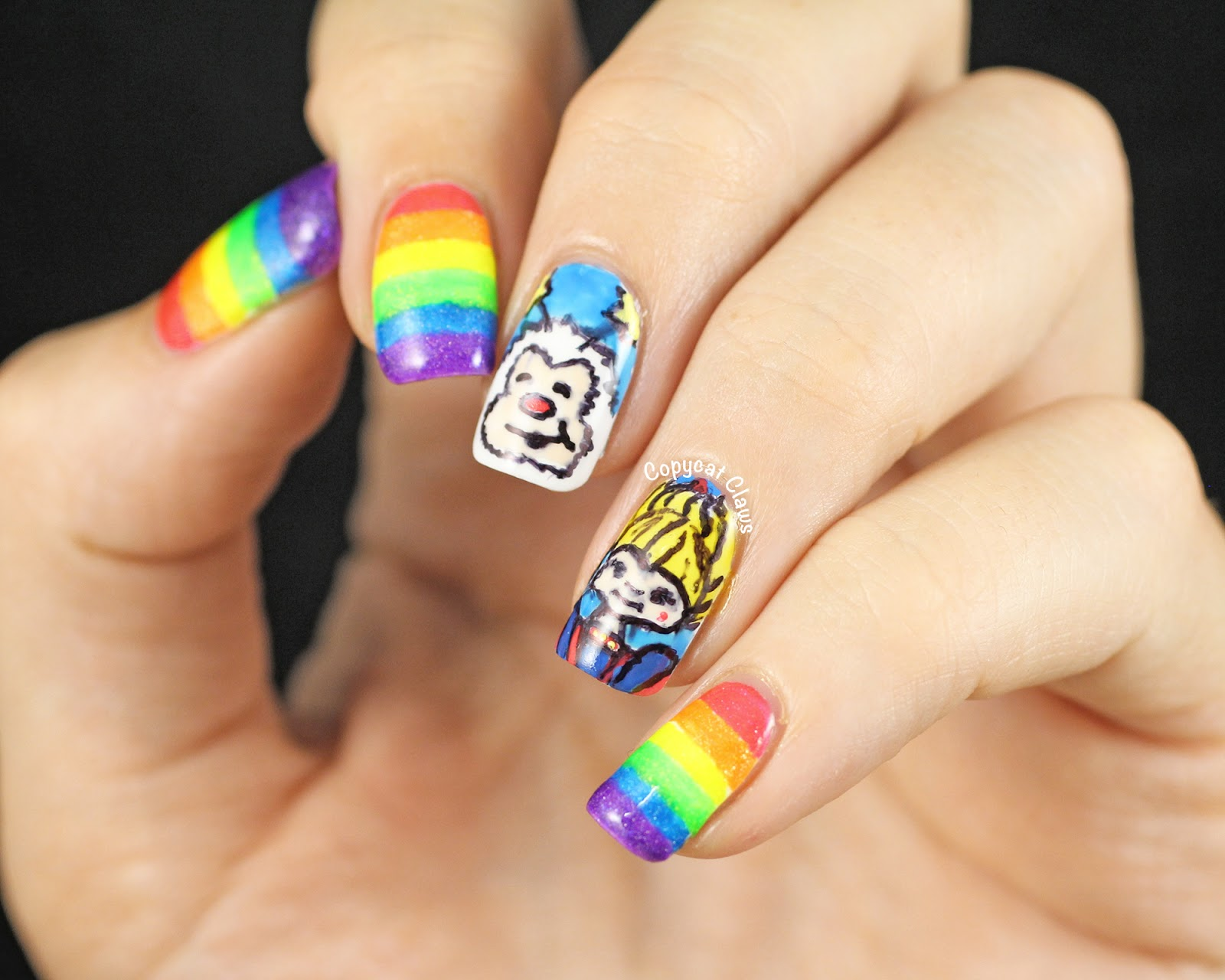 Copycat claws 31dc2014 day 9 rainbow brite nail art i topped it all with hk girl top coat and learnt why people dont use sharpies for their nail art the top coat did make my black lines bleed a bit prinsesfo Images