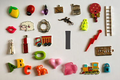 TomToy Individual letter L I spy trinkets for alphabet, Miniature abc objects, Montessori alphabet. Sorting toddler activities