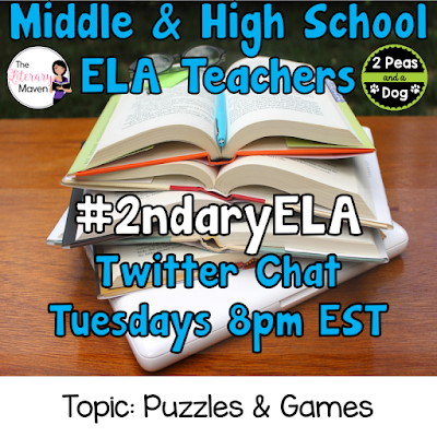 Join secondary English Language Arts teachers Tuesday evenings at 8 pm EST on Twitter. This week's chat will be about using puzzles and games to engage students.