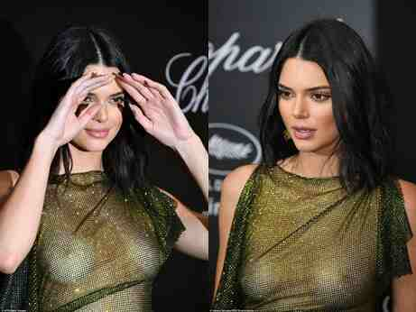 Braless Kendall Jenner flaunts nipples in sheer dress at Chopard party in Cannes