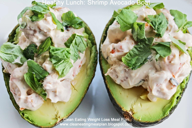 Healthy Lunch Shrimp Avocado Boat