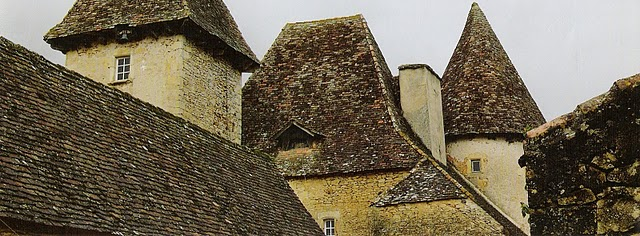 Dordogne rooftops of Chateau de la Bourgonie on linenandlavender.net