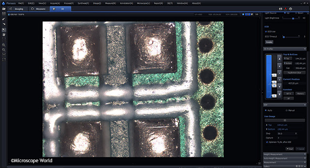 Panasis extended depth of focus software microscopy circuit board image.