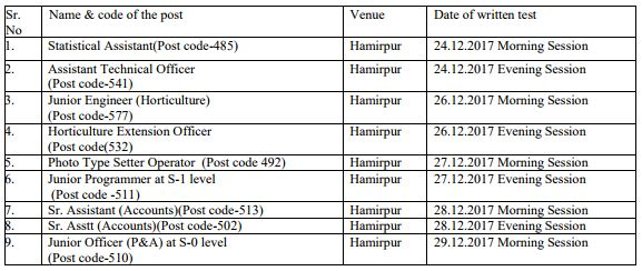 image : HPSSC Written Test Schedule 2017 (December) @ JobMatters.in