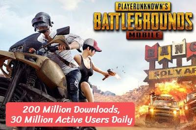 PUBG Mobile Get 200 Million Downloads, 30 Million Active Users Daily, eduworldtricks