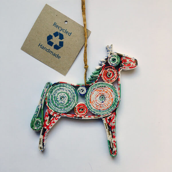 Dala Horse rolled paper tree ornament