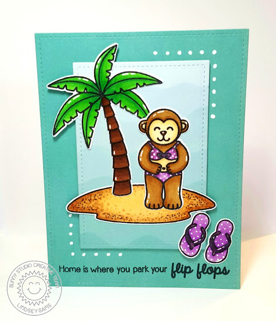 Sunny Studio Stamps: Island Getaway Home Is Where You Park Your Flip Flops card by Lindsey