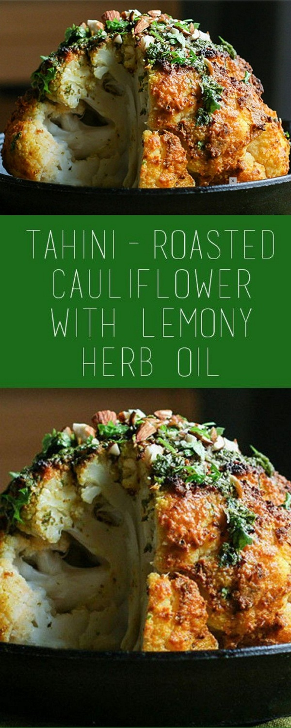 Tahini-Roasted Cauliflower With Lemony Herb Oil