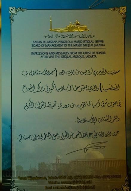 Kunjungi Istiqlal, Raja Salman Tuliskan Kesan dan Pesannya di Piagam