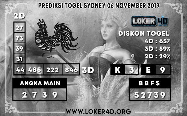 PREDIKSI TOGEL SYDNEY LOKER4D 06 NOVEMBER 2019