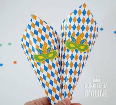 festa bloquinho carnaval infantil cone confete