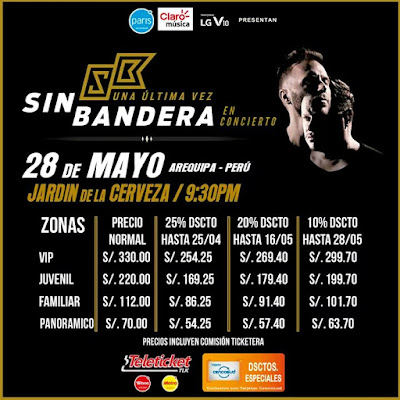 Sin Bandera en Arequipa 2016, precios de entradas
