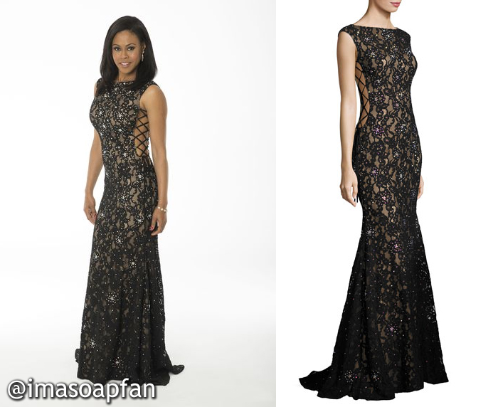 Jordan Ashford, Vinessa Antoine, Black Floral Lace Mermaid Gown, Jovani, Nurses Ball, GH, General Hospital, Season 55