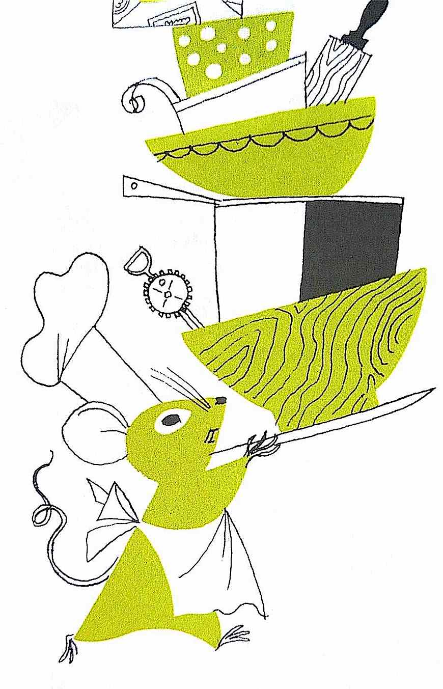 an Alice and Martin Provensen children's book illustration of a mouse chef carrying a stack of bowls and pots