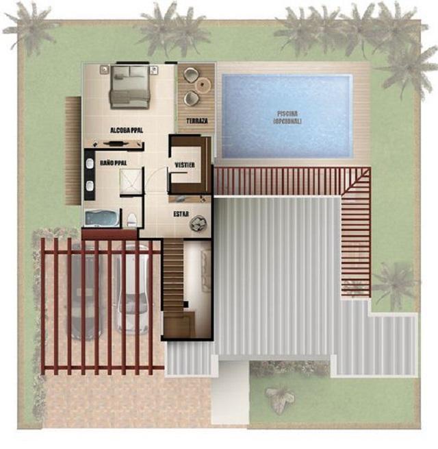 Plano de casa moderna con piscina planos de casas gratis - Medidas de piscinas de casas ...