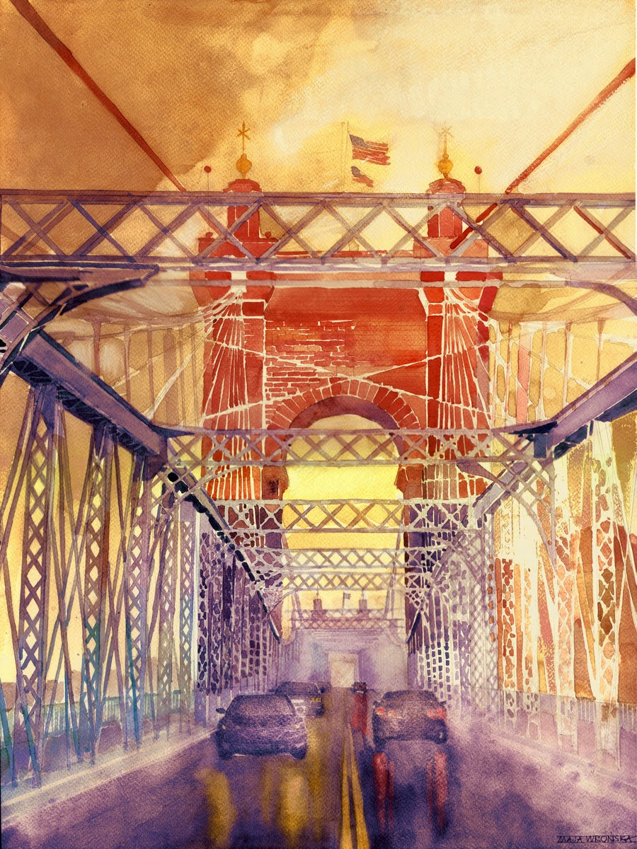 16-On-the-Roebling-Bridge-Maja-Wronska-Travels-Architecture-Paintings-www-designstack-co