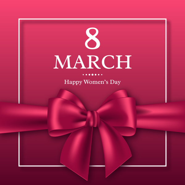 Woman Day March 8 women's day card with ribbon bow free vector