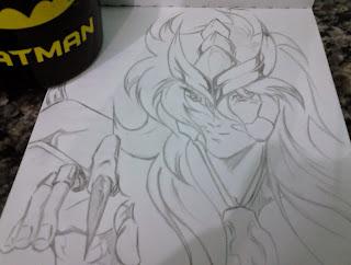 Saint Seiya Milo Escorpião rascunho fan art lápis
