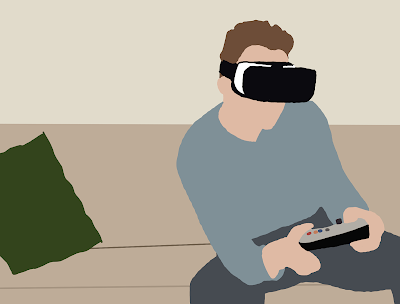 A young man wearing a VR headset works a game controller.